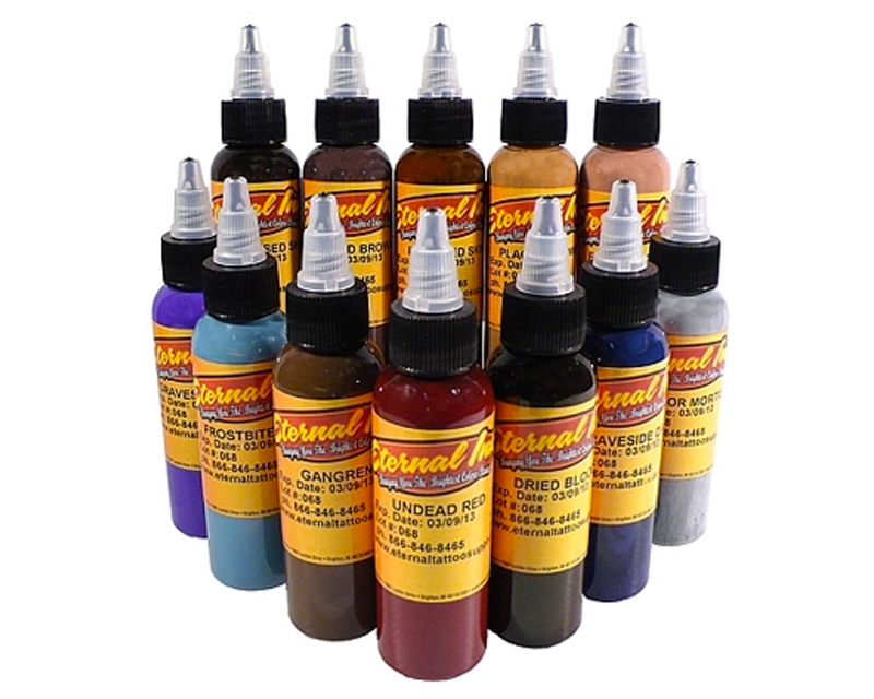 Zombie color set eternal ink sets black ink tattoo for Motorcity tattoo supply