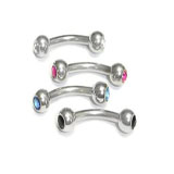Stainless Steel Curved Barbells w/ Gem
