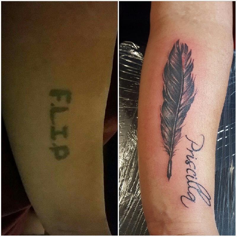 Feather Black Grey Worldwide Tattoo Canada